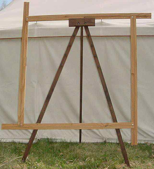 A Spriggs 5' Adjustable Square Frame Loom on a folding tripod Loom Stand. Click for larger images and more information.